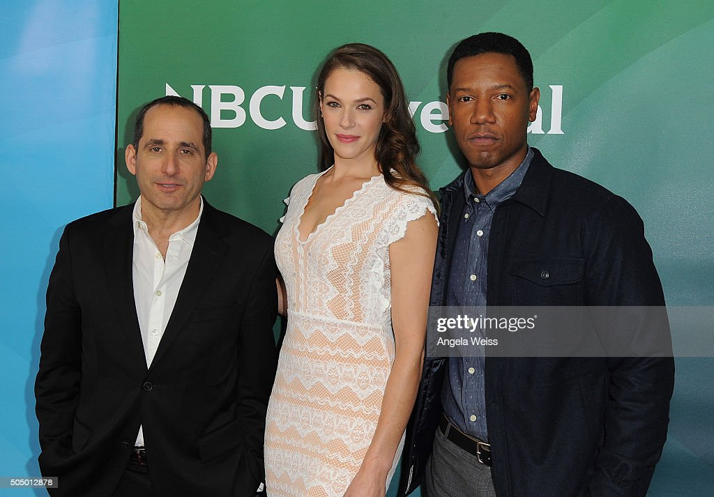 Peter Jacobson, Amanda Righetti and Tory Kittles arrive at the 2016 Winter TCA Tour - NBCUniversal Press Tour Day 2 at Langham Hotel on January 14, 2016 in Pasadena, California.
