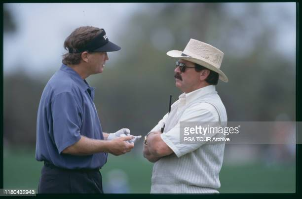 Peter Jacobson talks to Rules Official Slugger White 2000 Bay Hill Invitational - Thursday Photo by Stan Badz/PGA TOUR Archive via Getty Images