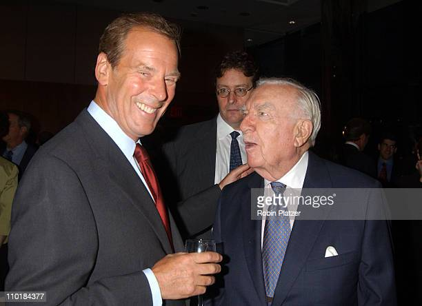 Peter Jennings and Walter Cronkite during Peter Jennings' 20th Anniversary Anchoring ABC World News Tonight at The Stanley Kaplan Penthouse at...