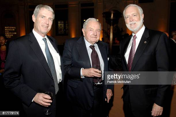 Peter Johnson David Rockefeller Sr and Secretary Wayne Clough attend INFINITY OF NATIONS Gala at National Museum of the American Indian on October 20...