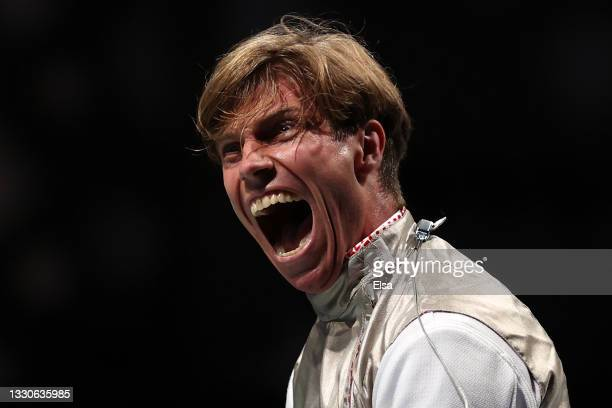 Peter Joppich of Team Germany celebrates after defeating Alexander Massialas of Team United States in Men's Foil Individual second round on day three...