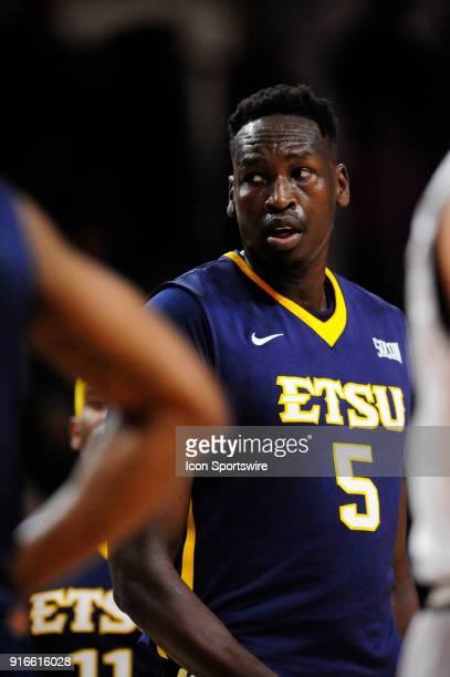 Peter Jurkin center East Tennessee State University Buccaneers checks the referee during the Southern Conference game against the Wofford College...