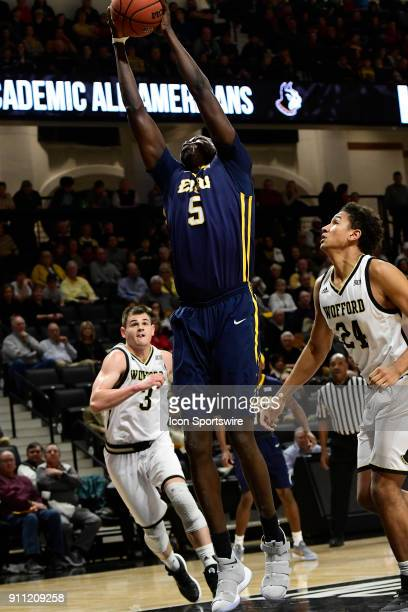 Peter Jurkin center East Tennessee State University Buccanneers goes up for two of his eight total points against the Wofford College Terriers...