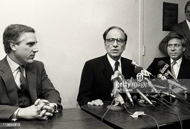 Peter Kalikow Rupert Murdoch and Peter Price during Press Conference of The New York Post February 22 1988 at The New York Post Newspaper Office in...
