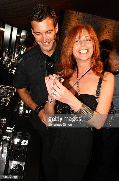Peter Kanitz and Olivia Pascal attend the 'Movie Meets Media' party at discoteque P1 on June 23, 2008 in Munich, Germany.