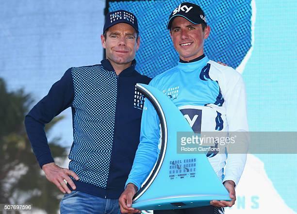 Peter Kannaugh of Great Britain poses with Cadel Evans after winning the Elite Men's Road Race at the 2016 Cadel Evans Great Ocean Road Race on...