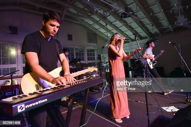 Peter Kedves Bobe Szecsi Krisztian Buzas of Belau perform onstage at Sounds from Hungary during SXSW at Palm Door on March 16 2018 in Austin Texas