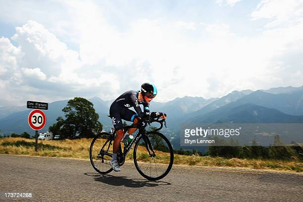 Peter Kennaugh of Great Britain and Team Sky Procycling rides during stage seventeen of the 2013 Tour de France, a 32KM Individual Time Trial from...