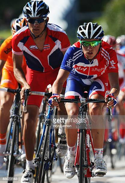 Peter Kennaugh of Great Britain in action during the Men's Under 23 Road Race at the 2008 UCI Road World Championships on September 26, 2008 in...