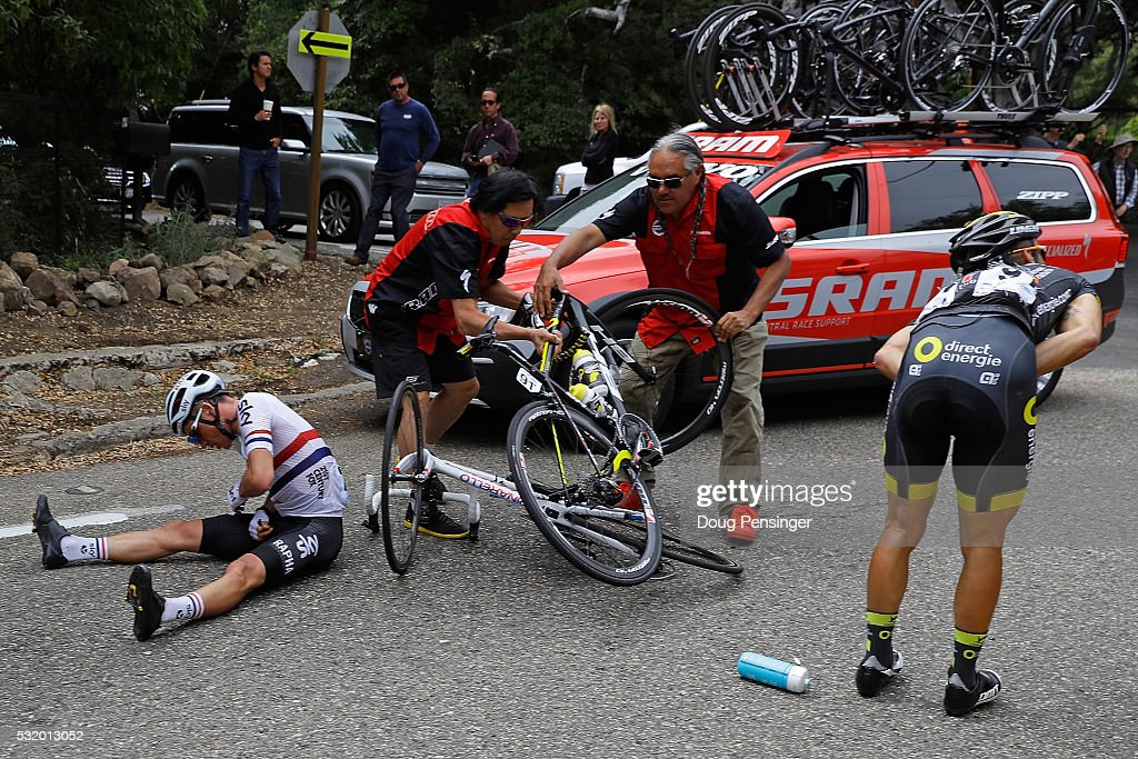 Peter Kennaugh of Great Britain riding for Team Sky and Bryan Coquard of France riding for Direct Energie are invloved in a crash during stage three of the 2016 Amgen Tour of California from Thousand Oaks to Santa Barbara on May 17, 2016 in Santa Barbara, California. Kennaugh abandoned the race after the crash.