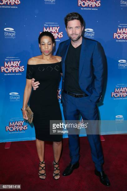 Peter Ketnath and Maykellis Ketnath attend the red carpet at the premiere of the Mary Poppins musical at Stage Apollo Theater on October 23 2016 in...