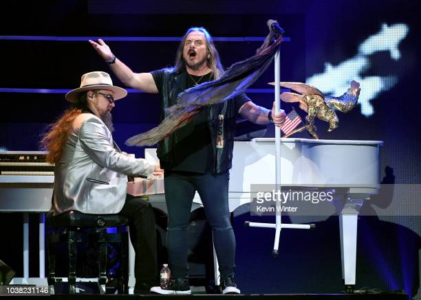Peter Keys and Johnny Van Zant of Lynyrd Skynyrd perform onstage during the 2018 iHeartRadio Music Festival at TMobile Arena on September 22 2018 in...