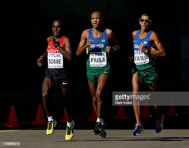Peter Kimeli Some of Kenya Paulo Roberto Paula of Brazil Solonei da Silva of Brazil compete in the Men's Marathon during Day Eight of the 14th IAAF...