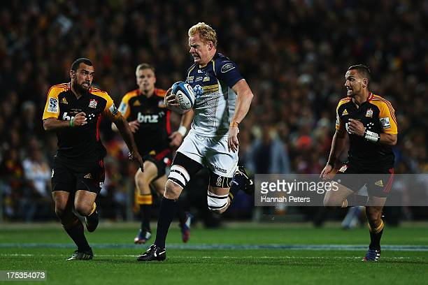 Peter Kimlin of the Brumbies makes a break during a Super Rugby Final match between the Chiefs and the Brumbies at Waikato Stadium on August 3 2013...