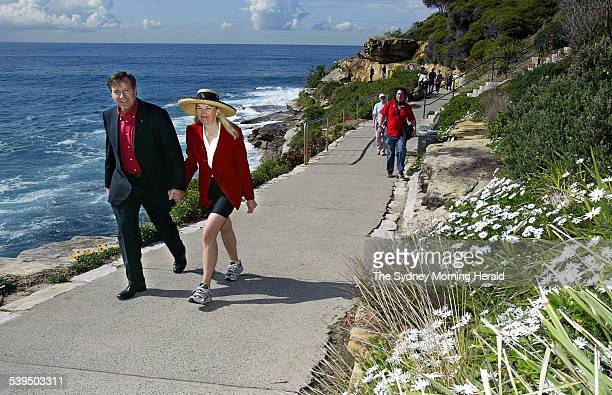 Peter King and his wife Fiona Sinclair King on the Bronte/Bondi walk on 3 September 2004before announcing his intentions that he will run as an...