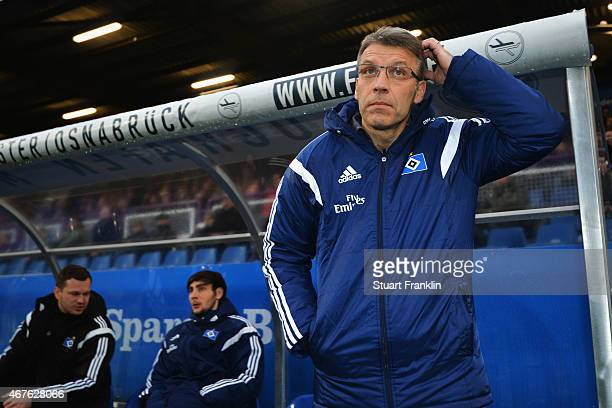 Peter Knaebel, head coach of Hamburg looks on during his first game in charge as head coach during a friendly match between VfL Osnabrueck and...