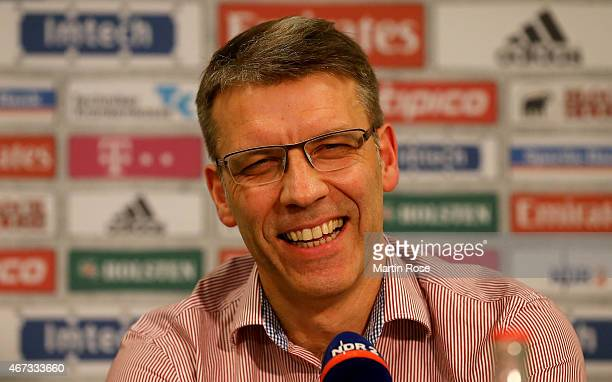 Peter Knaebel, new head coach of Hamburger talks to the media at a press conference on March 23, 2015 in Hamburg, Germany.