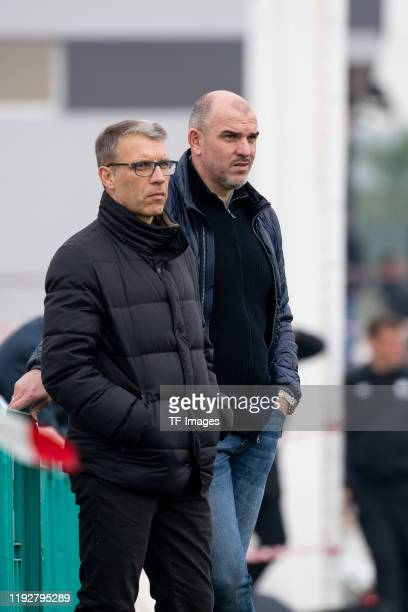 Peter Knaebel of FC Schalke 04 and Mathias Schober look on during the FC Schalke 04 winter training camp on January 09, 2020 in Fuente Alamo near...
