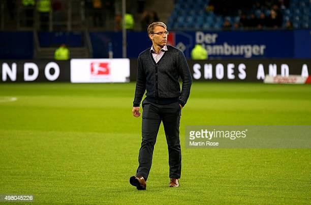 Peter Knaebel, team director of Hamburg looks on before the Bundesliga match between Hamburger SV and Borussia Dortmund at Volksparkstadion on...