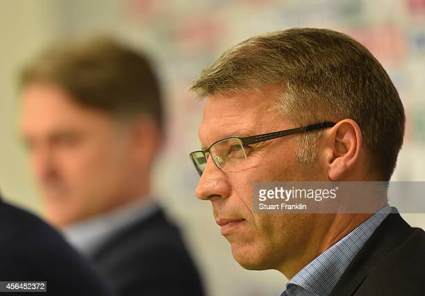 Peter Knäbel talks to the media as he is announced as the new director of professional football for Hamburger SV at Imtech Arena on October 1, 2014...