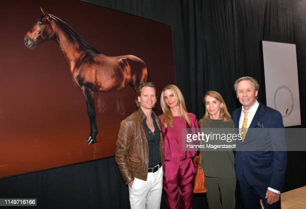 Peter Kraus and his wife Ingrid Kraus and their son Mike Kraus and his wife Constanze Coco Kraus attend the Veneration exhibition opening in...