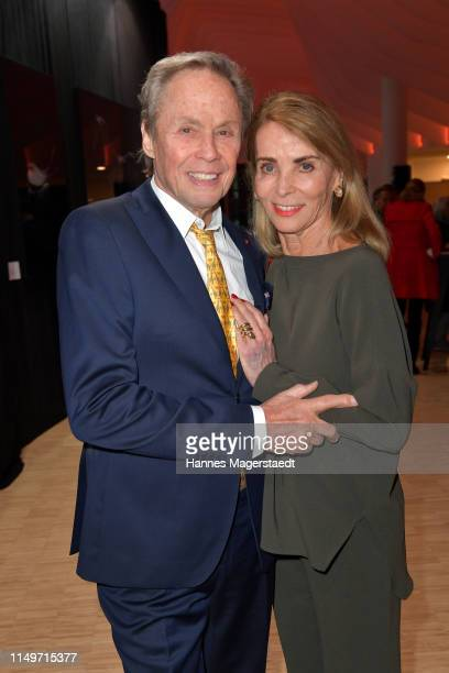 Peter Kraus and his wife Ingrid Kraus attend the Veneration exhibition opening in cooperation with photographer Mike Kraus on May 16 2019 in Munich...