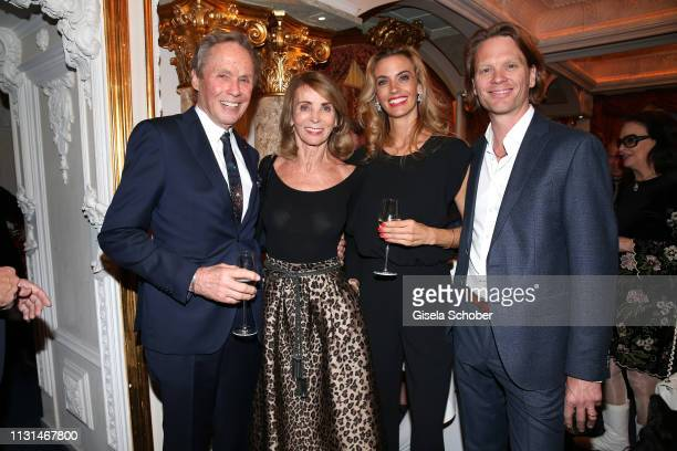 Peter Kraus and his wife Ingrid Kraus pose with their son Mike Kraus and his wife Constanze Coco Kraus during the celebration of Peter Kraus' 80th...