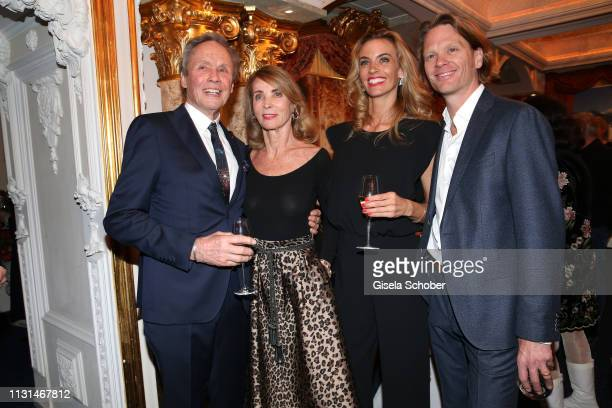"Peter Kraus and his wife Ingrid Kraus pose with their son Mike Kraus and his wife Constanze ""Coco"" Kraus during the celebration of Peter Kraus' 80th..."