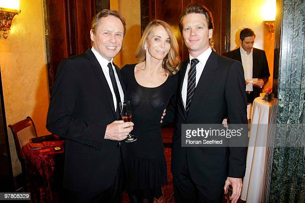Peter Kraus and wife Ingrid and son Mike attend the Russian Fashion Gala at the Embassy of the Russian Federation on March 17 2010 in Berlin Germany