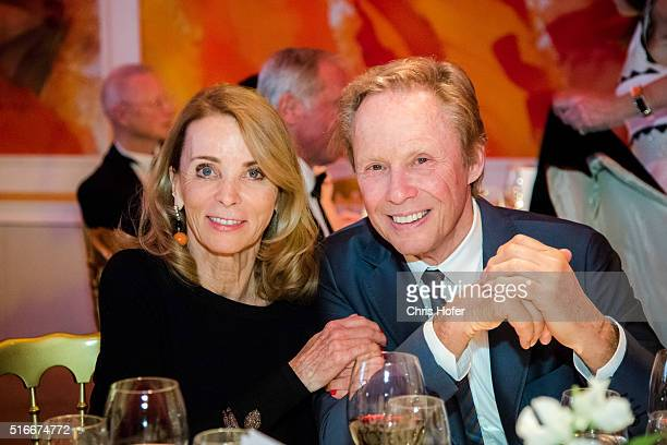 Peter Kraus with his wife Ingrid attend Karl Spiehs 85th birthday celebration on March 19 2016 in Vienna Austria