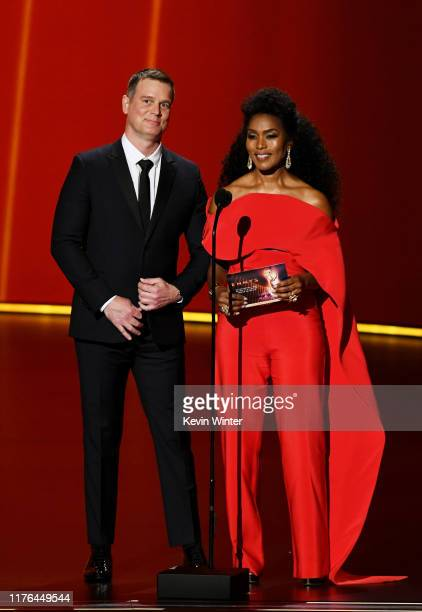 Peter Krause and Angela Bassett speak onstage during the 71st Emmy Awards at Microsoft Theater on September 22 2019 in Los Angeles California