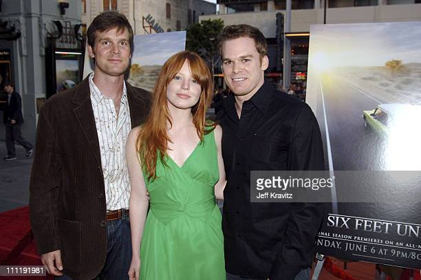 Peter Krause Lauren Ambrose and Michael C Hall during HBO's 'Six Feet Under' Season 5 Premiere Red Carpet at Grauman's Chinese Theater in Hollywood...