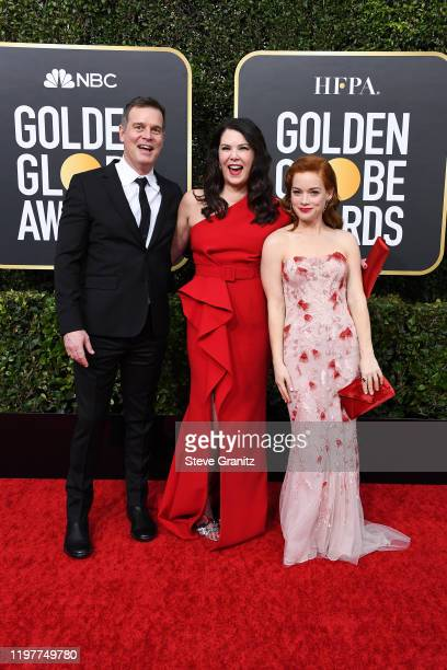 Peter Krause Lauren Graham and Jane Levy attend attends the 77th Annual Golden Globe Awards at The Beverly Hilton Hotel on January 05 2020 in Beverly...