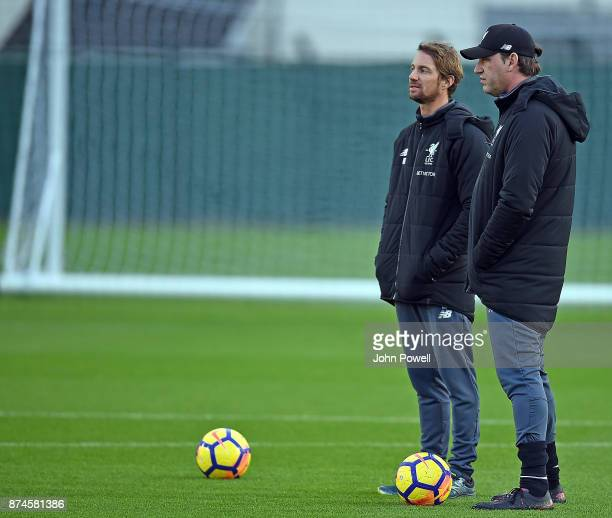 Peter Krawietz and Andreas Kornmayer of Liverpool at Melwood Training Ground on November 15 2017 in Liverpool England