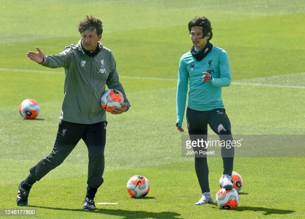 Peter Krawietz and Takumi Minamino of Liverpool during a training session at Melwood Training Ground on June 05 2020 in Liverpool England