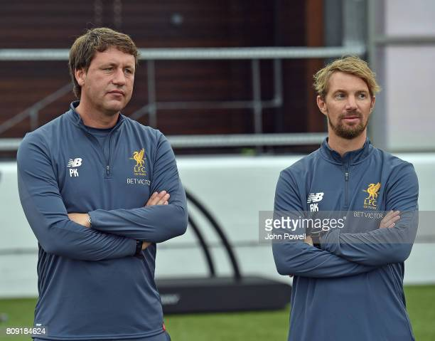 Peter Krawietz of Liverpool Second assistant coach and Andreasn Kornmayer Head of fitness and conditioning for Liverpool during a training session at...