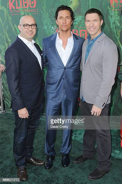 Peter Kujawski Matthew McConaughey and Travis Knight attend the Kubo and the Two Strings World Premiere at AMC Universal City Walk on August 14 2016...