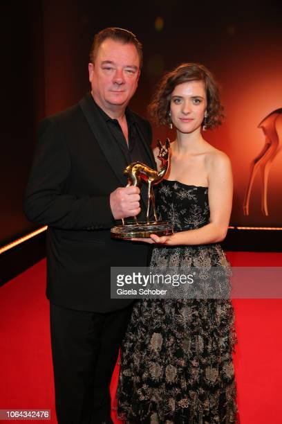 Peter Kurth and Liv Lisa Fries with award for Babylon Berlin during the Bambi Awards 2018 winners board at Stage Theater on November 16 2018 in...