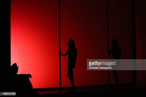 Peter Kurth Regine Zimmermann and Diane Gemsch perform on stage during rehearsals for 'Bahnwaerter Thiel' at Maxim Gorki Theater Berlin on November...