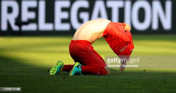 Peter Kurzweg of Ingolstadt looks dejected after the 2. Bundesliga playoff second leg match between FC Ingolstadt and 1. FC Nürnberg at Audi...