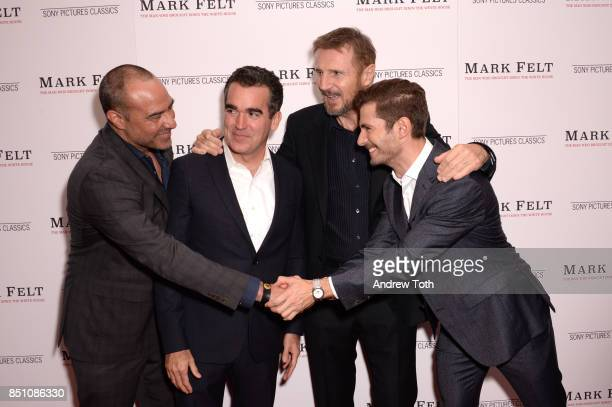 Peter Landesman Brian d'Arcy James Liam Neeson and Julian Morris attend 'Mark Felt The Man Who Brought Down The White House' New York premiere at the...