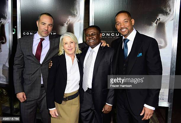 Peter Landesman Elizabeth Cantillon Bennet Omalu and Will Smith attend Columbia Pictures screening of Concussion at Regency Village Theatre on...