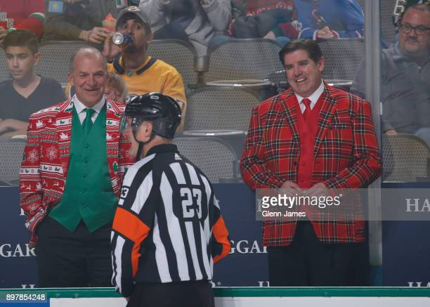 Peter Laviolette head coach of the Nashville Predators before a game against the Dallas Stars at the American Airlines Center on December 23 2017 in...