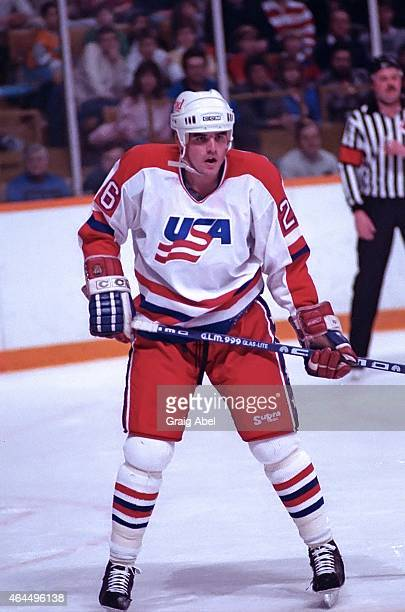 Peter Laviolette of Team USA prepares for the faceoff against Team Canada during a warmup game for the 1988 Olympics on January 18 1988 at Maple Leaf...