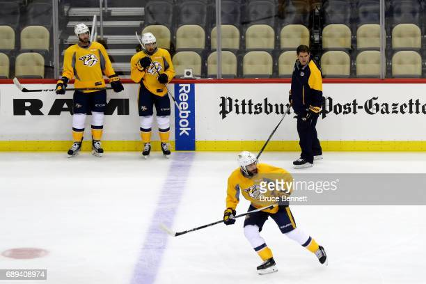 Peter Laviolette of the Nashville Predators looks on in practice during Media Day for the 2017 NHL Stanley Cup Final at PPG PAINTS Arena on May 28...