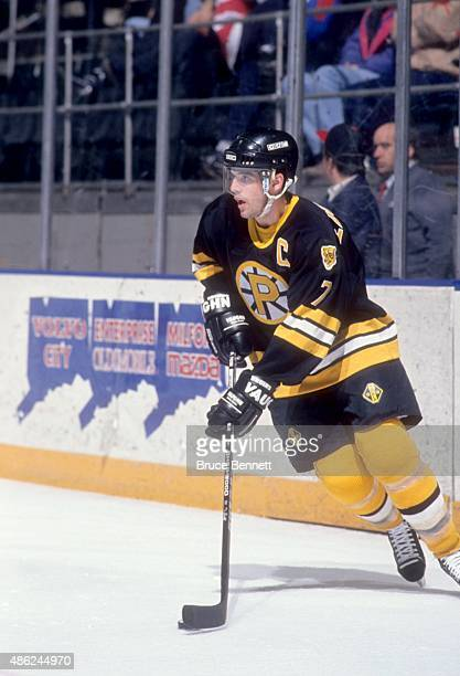 Peter Laviolette of the Providence Bruins skates with the puck during an AHL game in March 1993