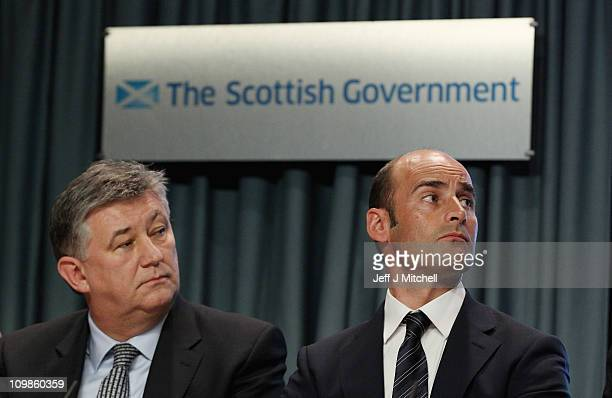 Peter Lawell chief executive of Celtic and Martin Bain chief executive of Rangers attend a media briefing at St Andrews house on March 8 2011 in...