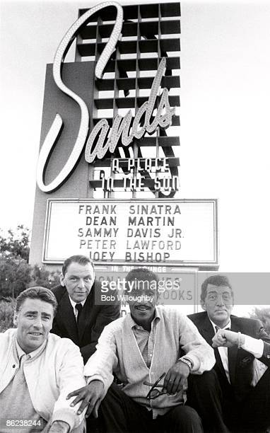 Peter Lawford Frank Sinatra Sammy Davis Jnr Dean Martin from The Rat Pack posed on The Summit at Sands Hotel in Las Vegas in February 1960