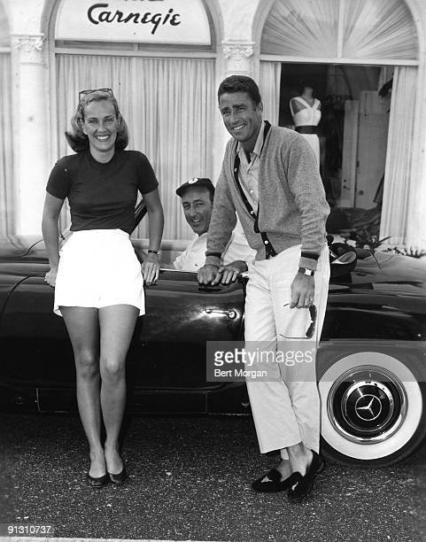 Peter Lawford with Mrs Daniel Topping and Edward B McLean Jr on Worth Avenue in Palm Beach Florida 1958