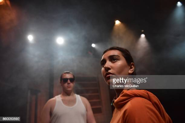 Peter Lawrence who plays an advanced intelligence robot named 'Bob' and Rhea Melvin who plays 'Sal' during a 'Playcraft' live rehearsal at The...